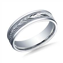 Palladium 6mm Comfort-Fit Harvest of Love Milgrain Round Edge Carved Design Band | B2C Jewels