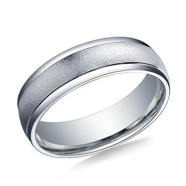 Palladium 6mm Comfort-Fit Wired-Finished High Polished Round Edge Carved Design Band