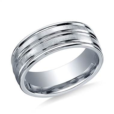 Palladium 8mm Comfort-Fit Satin-Finished Center Trim and Round Edge Carved Design Band