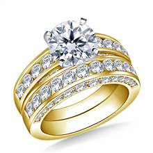 Pave and Channel Set Round Diamond Ring with Matching Band in 14K Yellow Gold (2.00 cttw.)   B2C Jewels