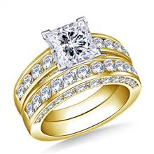 Pave and Channel Set Round Diamond Ring with Matching Band in 18K Yellow Gold (2.00 cttw.)   B2C Jewels