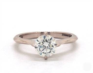 Pave Crown Basket Compass Point Solitaire Engagement Ring in 4mm 14K Rose Gold (Setting Price)