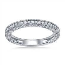 Pave Diamond Milgrain Wedding Band Vintage Look in 14K White Gold (1/5 cttw.) | B2C Jewels