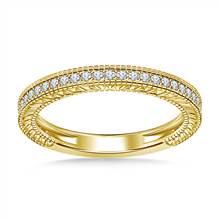 Pave Diamond Milgrain Wedding Band Vintage Look in 14K Yellow Gold (1/5 cttw.) | B2C Jewels