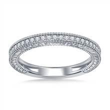 Pave Diamond Milgrain Wedding Band Vintage Look in 18K White Gold (1/5 cttw.) | B2C Jewels