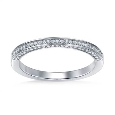 Pave Diamond Wedding Band Diamond Top and Sides in 14K White Gold (3/8 cttw.)