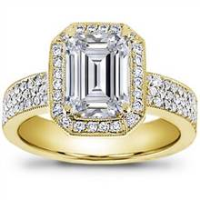 Pave Engagement Setting for Emerald Cut Diamond (0.54 CTTW) | Adiamor