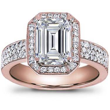 Pave Engagement Setting for Emerald Cut Diamond (0.54 CTTW)