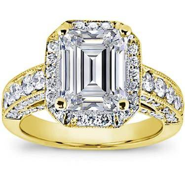 Pave Engagement Setting for Emerald Cut Diamond (1.28 CTTW)