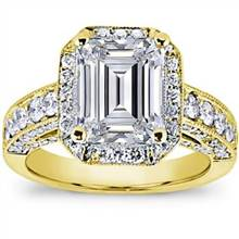 Pave Engagement Setting for Emerald Cut Diamond (1.28 CTTW) | Adiamor