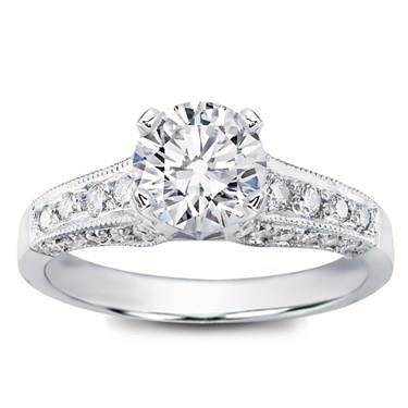 Pave Engagement Setting for Round Diamond (0.58 CTTW)