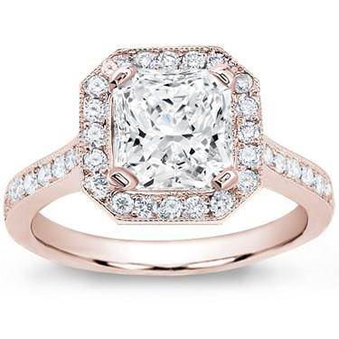 Pave Engagement Setting for Square Diamond (0.45 CTTW)