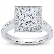 Pave Engagement Setting for Square Diamond (0.50 CTTW) | Adiamor