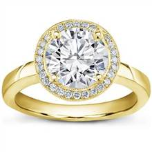 Pave Halo Engagement Setting for Round Diamond | Adiamor