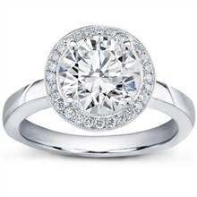 Pave Halo Engagement Setting for Round Diamond   Adiamor