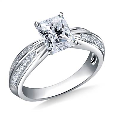 Pave Set Diamond Accent Engagement Ring In 18K White Gold (1/3 cttw.)