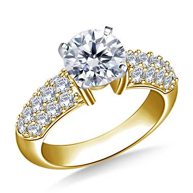 Pave-Set Diamond Engagement Ring in 14K Yellow Gold (7/8 cttw.)