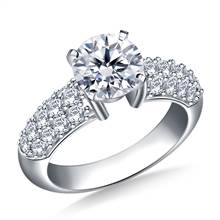 Pave-Set Diamond Engagement Ring in 18K White Gold (7/8 cttw.) | B2C Jewels