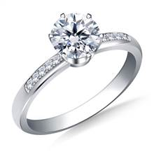 Pave Set Diamond Engagement Ring in 18K White Gold | B2C Jewels