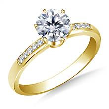 Pave Set Diamond Engagement Ring in 18K Yellow Gold | B2C Jewels