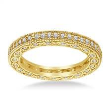 Pave-Set Diamond Eternity Ring In 14K Yellow Gold With Milgrain Border (0.57 - 0.67 cttw.) | B2C Jewels