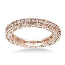 Pave-Set Diamond Eternity Ring In 18K Rose Gold With Milgrain Border (0.57 - 0.67 cttw.) | B2C Jewels
