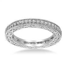 Pave-Set Diamond Eternity Ring In 18K White Gold With Milgrain Border (0.57 - 0.67 cttw.) | B2C Jewels