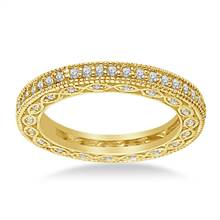 Pave-Set Diamond Eternity Ring In 18K Yellow Gold With Milgrain Border (0.57 - 0.67 cttw.) | B2C Jewels