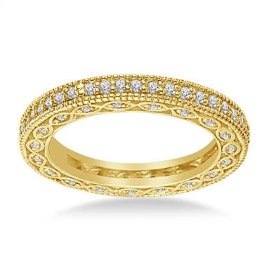 Pave-Set Diamond Eternity Ring In 18K Yellow Gold With Milgrain Border (0.57 - 0.67 cttw.)