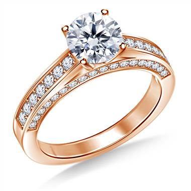 Pave Set Diamond Ring Crafted In 14K Rose Gold