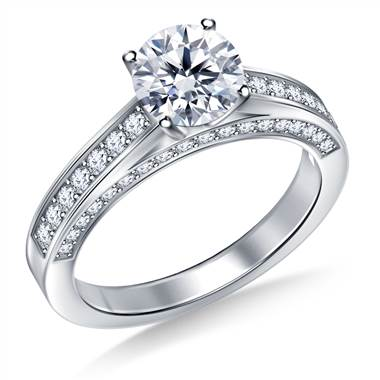 Pave Set Diamond Ring Crafted In 18K White Gold