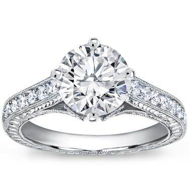 Pave Set Engagement Ring for Round Diamond
