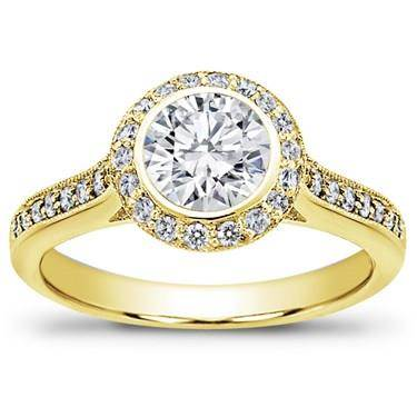 Pave-set Engagement Setting for Round Diamond