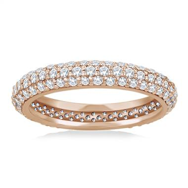 Pave Set Rounded Diamond Eternity Ring in 14K Rose Gold (0.93 - 1.08 cttw.)