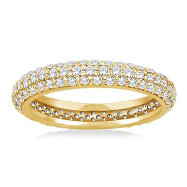 Pave Set Rounded Diamond Eternity Ring in 14K Yellow Gold (0.93 - 1.08 cttw.)