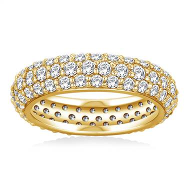 Pave Set Rounded Diamond Eternity Ring in 14K Yellow Gold (1.96 - 2.24 cttw)