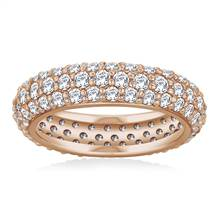 Pave Set Rounded Diamond Eternity Ring in 18K Rose Gold (1.96 - 2.24 cttw)   B2C Jewels