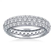 Pave Set Rounded Diamond Eternity Ring in 18K White Gold (1.96 - 2.24 cttw) | B2C Jewels