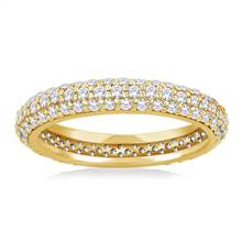 Pave Set Rounded Diamond Eternity Ring in 18K Yellow Gold (0.93 - 1.08 cttw.) | B2C Jewels