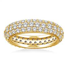 Pave Set Rounded Diamond Eternity Ring in 18K Yellow Gold (1.96 - 2.24 cttw) | B2C Jewels