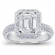 Pave Setting for Emerald or Radiant Cut Diamond | Adiamor