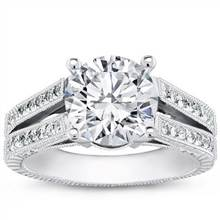 Pave Split Shank Setting for Round Diamond | Adiamor