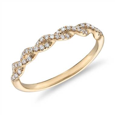 Pave Twist Diamond Wedding Ring in 14K Yellow Gold (1/8 ct. tw.)