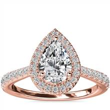 Pear Diamond Bridge Halo Diamond Engagement Ring in 14k Rose Gold (1/3 ct. tw.) | Blue Nile
