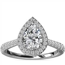 Pear Diamond Bridge Halo Diamond Engagement Ring in 14k White Gold (1/3 ct. tw.) | Blue Nile