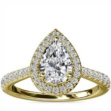 Pear Diamond Bridge Halo Diamond Engagement Ring in 14k Yellow Gold (1/3 ct. tw.) | Blue Nile
