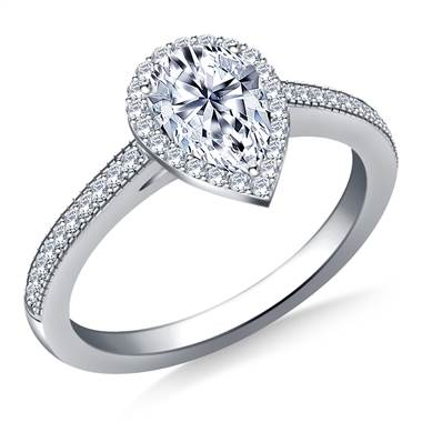 Pear Halo Diamond Engagement Ring with Milgrain Edging in 14K White Gold