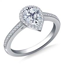 Pear Halo Diamond Engagement Ring with Milgrain Edging in 18K White Gold | B2C Jewels