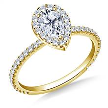 Pear Halo Engagement Ring in 18K Yellow Gold | B2C Jewels