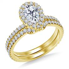 Pear Halo Engagement Ring with Matching Band in 14K Yellow Gold | B2C Jewels